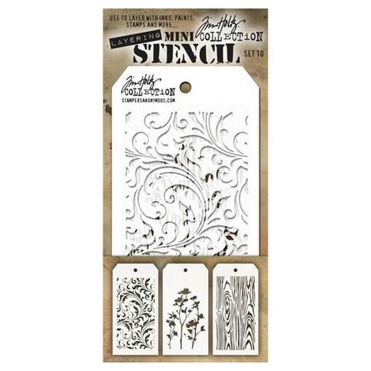 Tim Holtz Mini Layered Stencil 15,5x8,5cm σετ 3 τεμ