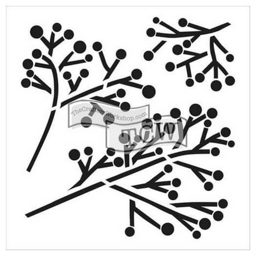Μάσκα Stencil, Twig & Berries, 15,5x15,5cm