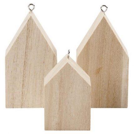 Κρεμαστά ξύλινα σπιτάκια, σετ 3 τεμ. 6,5 4,5cm