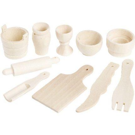 Εργαλεία κουζίνας μινιατούρες 40-60mm,σετ 10 τεμ.