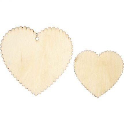 Ξύλινες καρδιές 7,5x7,5 & 5,1x5,1 cm,σετ 12τεμ.