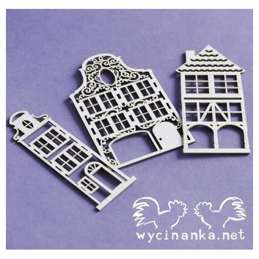 Διακοσμητικά Chipboard σπιτάκια , 8.5 cm, 3 τεμ