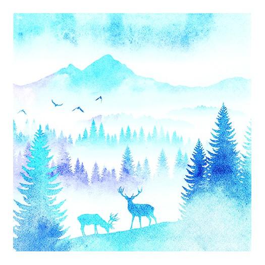 Χαρτοπετσέτα για decoupage, Deers in Mountains