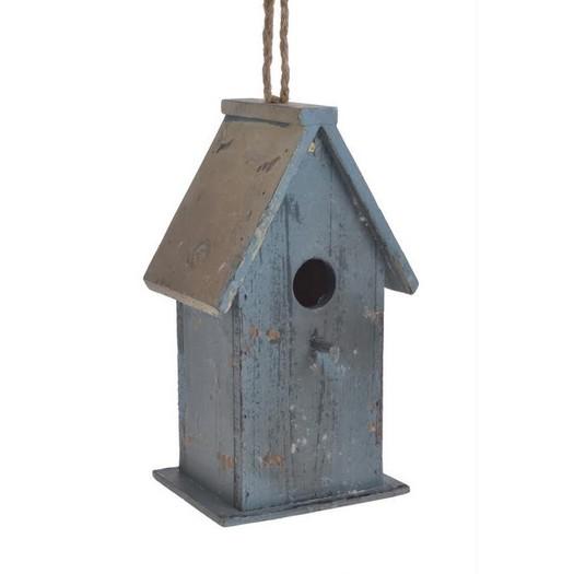 Σπιτάκι ξύλινο κρεμαστό, shabby blue, 12x10x22,5cm