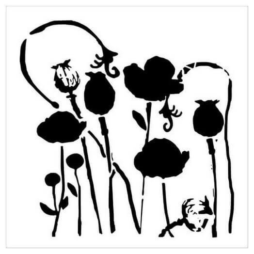 Μάσκα Stencil, Poppy Garden, 15,5x15,5cm