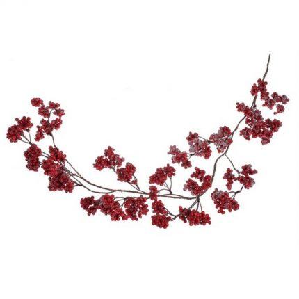 Γιρλάντα κόκκινοι καρποί χιονισμένοι, 1m