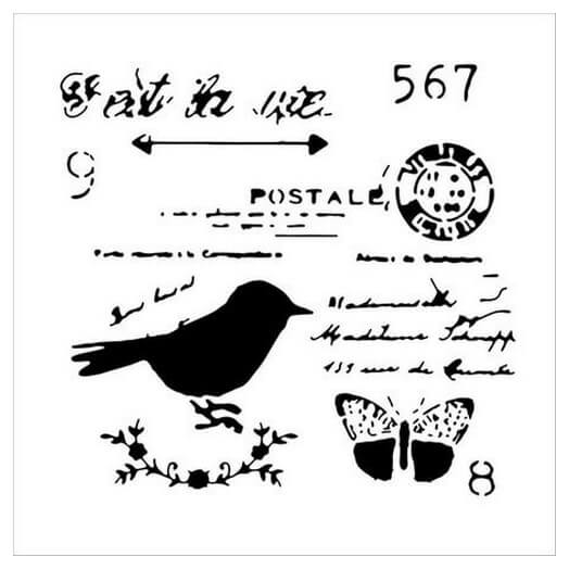 Μάσκα Stencil Chickadee Post, 15,5x15,5cm