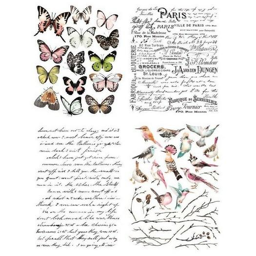 Χαρτί Decor Transfer Prima Re-Design, Parisian Butterflies, 4 σχέδια