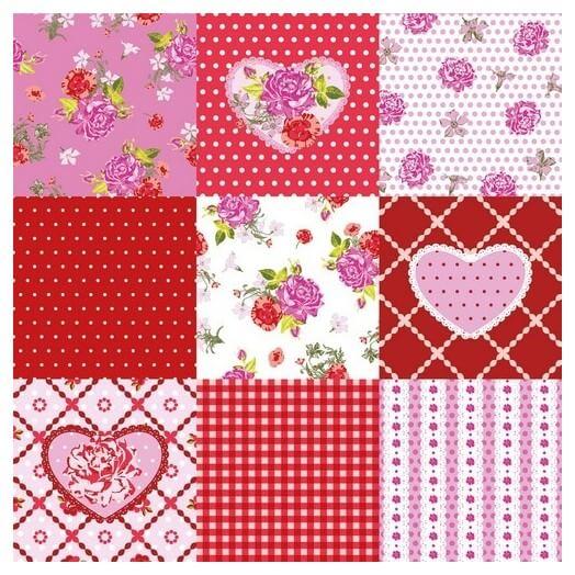 Χαρτοπετσέτα για Decoupage Rosy Heart, 1τεμ