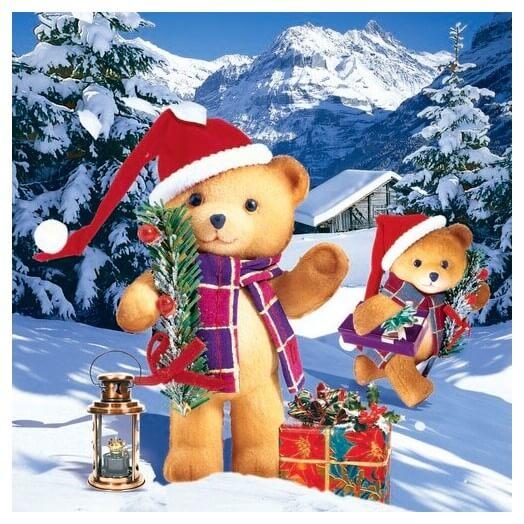 Χαρτοπετσέτα για Decoupage Happy Bears Christmas , 1τεμ