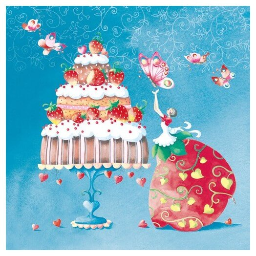 Χαρτοπετσέτα για Decoupage, Strawberry Cake, 1τεμ