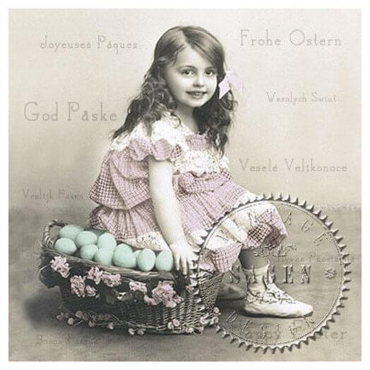 Χαρτοπετσέτα για Decoupage Vintage Girl with Egg Basket,1 τεμ.