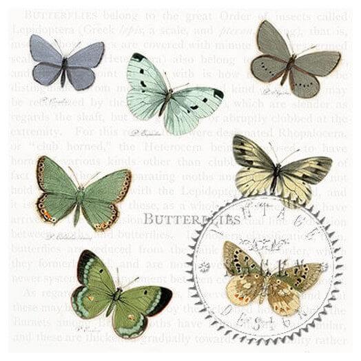 Χαρτοπετσέτα για Decoupage Vintage Πεταλούδες ,1 τεμ.