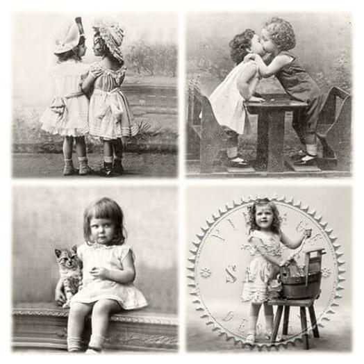 Χαρτοπετσέτα για Decoupage Vintage Happy Children,1 τεμ.