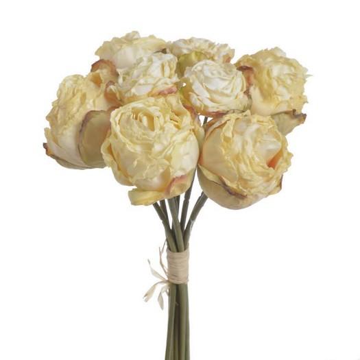 Μπουκέτο αποξηραμένα τριαντάφυλλα, cream, 27cm