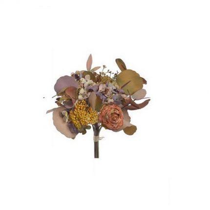 Μπουκέτο φθινοπωρινό με ορτανσία, 31cm,  light brown