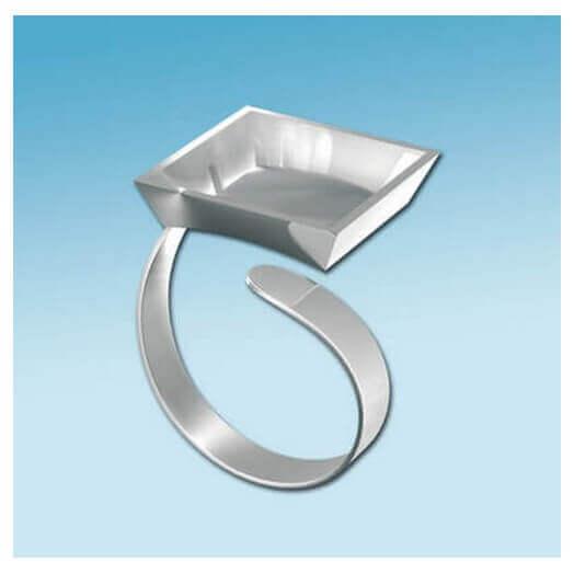 Δαχτυλίδι Με Βάση Τετράγωνη, Ασημί, FIMO