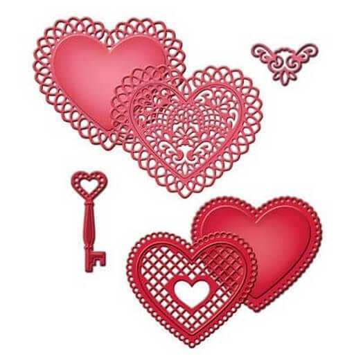 Μήτρες Spellbinders, Lace Hearts, σετ 6 τεμ.