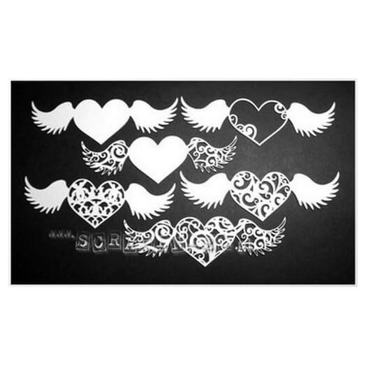 Διακοσμητικά Chipboard Καρδιές με φτερά, 19,9x19,9 cm σετ 6 τεμ.