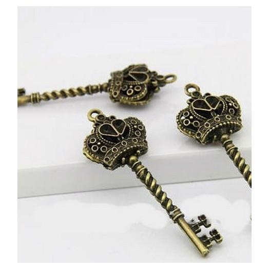 Antique Brass Metal Key 62mm - 1 τεμ