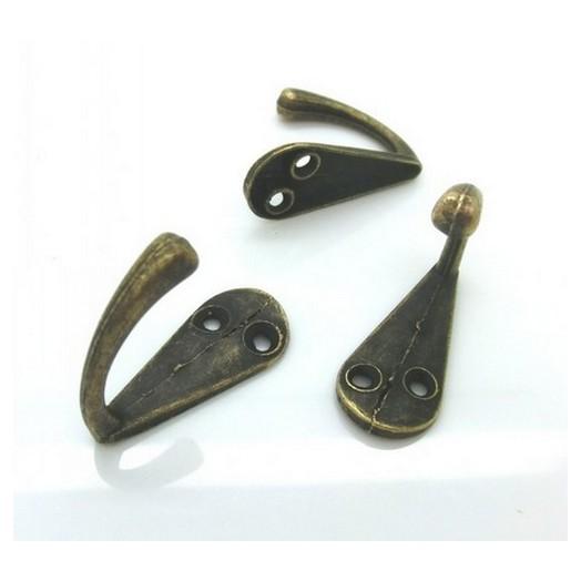 Κρεμάστρες Bronze metal , 33x14mm - σετ 4 τεμ