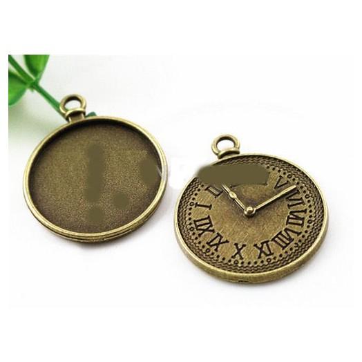 Μενταγιόν μεταλλικά Antique Bronze Clock 25mm, 2 τεμ.
