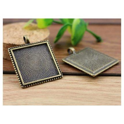 Μενταγιόν μεταλλικά Antique Bronze Square 25mm, 2 τεμ.
