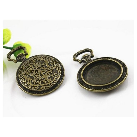 Μενταγιόν μεταλλικά Antique Bronze round 20mm, 2 τεμ.