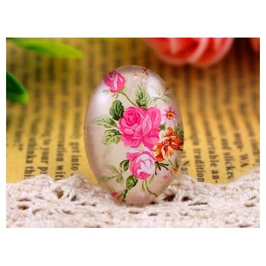 Γυαλάκια Photo Glass 18x25mm Flowers- 4 τεμ
