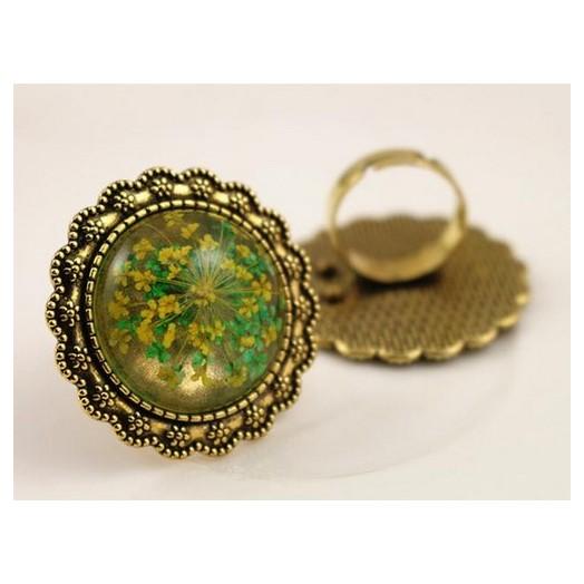 Δαχτυλίδι μεταλλικό Antique Gold round 25mm, 1 τεμ.