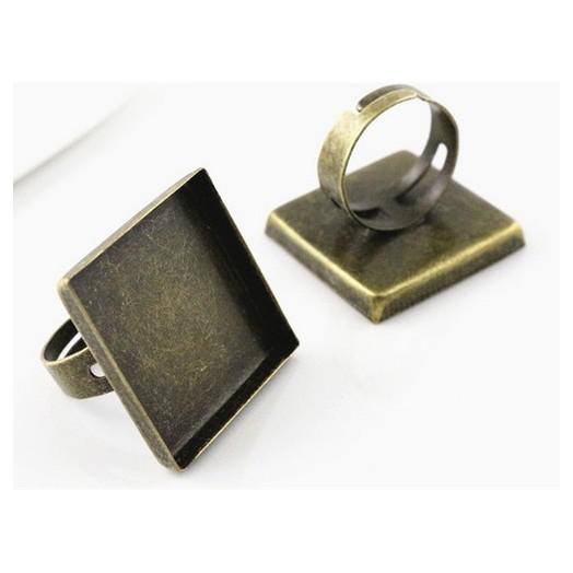 Δαχτυλίδι μεταλλικό Antique Bronze Square 25mm, 1 τεμ.