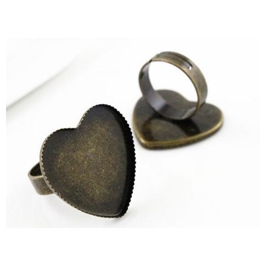 Δαχτυλίδι μεταλλικό Antique Bronze Heart 25mm, 1 τεμ.