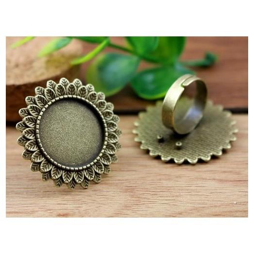 Δαχτυλίδια μεταλλικά Antique Bronze Round 20mm, 2 τεμ.
