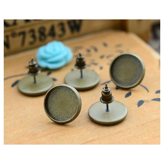 Σκουλαρίκια μεταλλικά Antique Bronze 12mm, 8 τεμ.