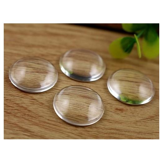 Γυαλάκια διάφανα στρογγυλά Clear Glass 20mm - 6 τεμ