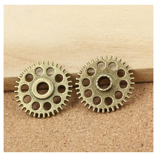 Antique Bronze Metal gear 26mm - σετ 4 τεμ