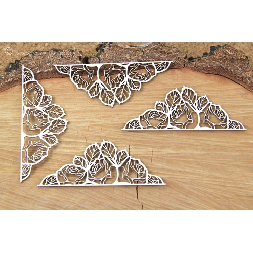 Διακοσμητικά Chipboard, Rose corners 3,5x8,5 cm, 4τεμ.