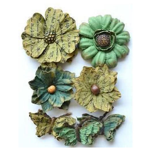 Λουλούδια Asteria Green Handmade 7τεμ.