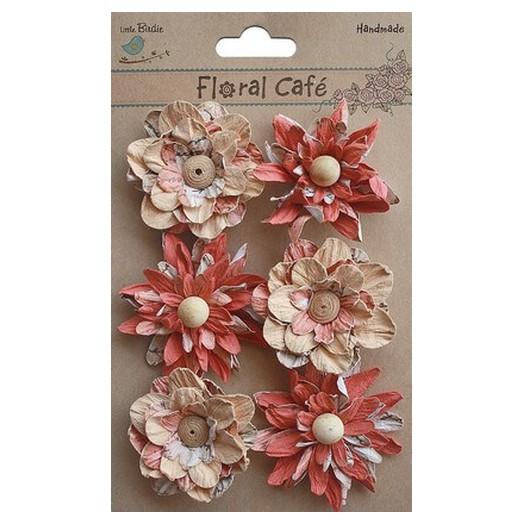 Χειροποίητα λουλούδια Printed Venice Petals Red 6τεμ.