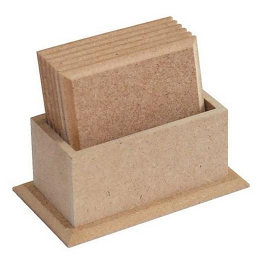 Σουβέρ σέτ 6 τεμ. σε ξύλινη βάση