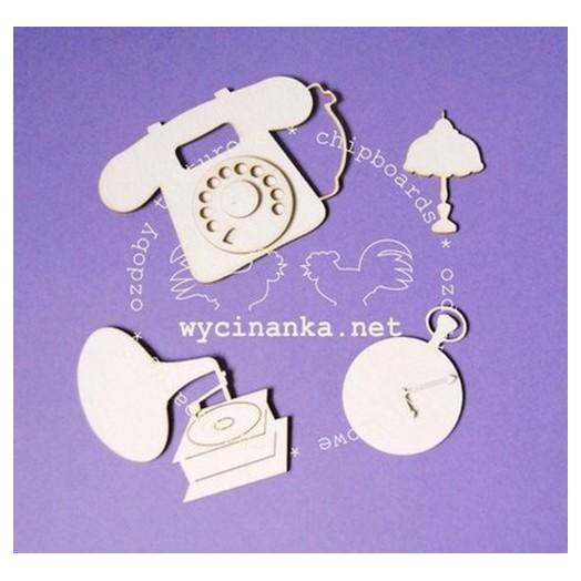 Διακοσμητικά Chipboard, Τηλέφωνο, ρολόι, γραμμόφωνο, λάμπα ,5-7cm, 4τεμ