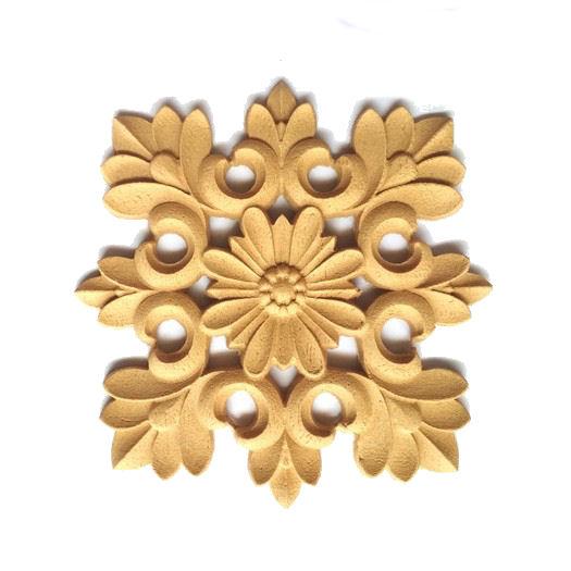 Ξυλόγλυπτο διακοσμητικό floral, 11x11cm