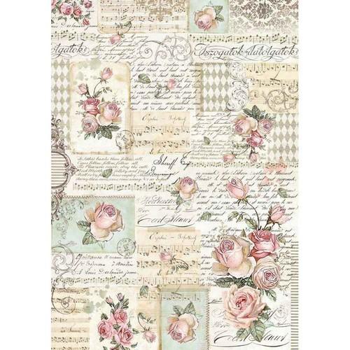 Ριζόχαρτο Stamperia 29,7x42cm A3,  Roses & manuscript