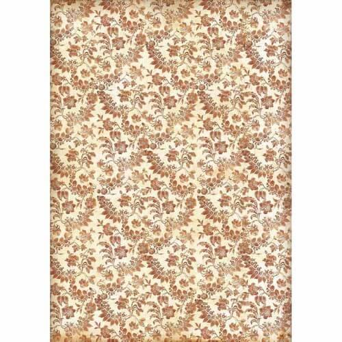 Ριζόχαρτο Stamperia 29,7x42cm A3, Wallpaper with flowers and leaves