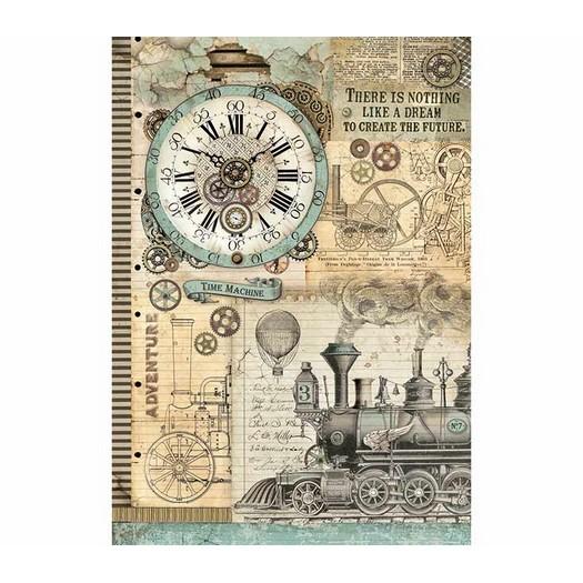 Ριζόχαρτο Stamperia 29,7x42cm A3, Voyages Fantastiques clock
