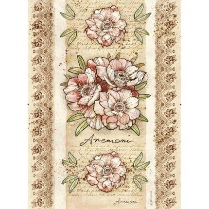 Ριζόχαρτο Stamperia 29,7x42cm A3, Voyages Flowers by Donatella, Anemone