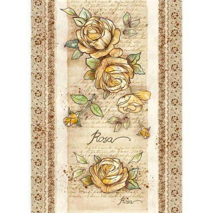 Ριζόχαρτο Stamperia 29,7x42cm A3, Voyages Flowers by Donatella, Rose