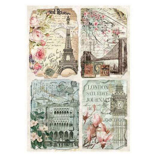 Ριζόχαρτο Stamperia 21x29cm, Vintage Postcards