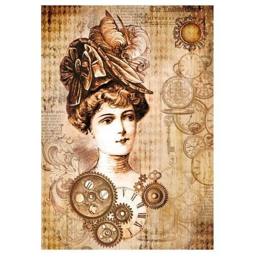 Ριζόχαρτο Stamperia 21x29cm, Time is An Illusion Lady & Clocks