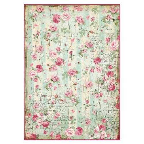 Ριζόχαρτο Stamperia 21x29cm, Texture rose & script